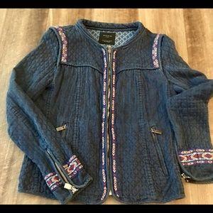Zara embroidered navy Jacket